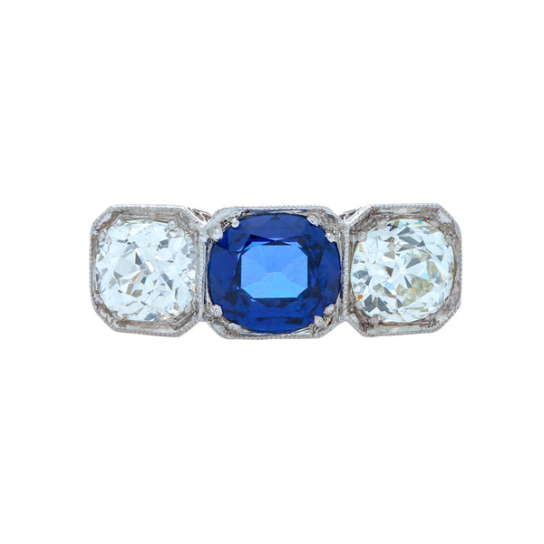 Magnificent Edwardian Sapphire & Diamond Three-Stone Ring | Winterslow