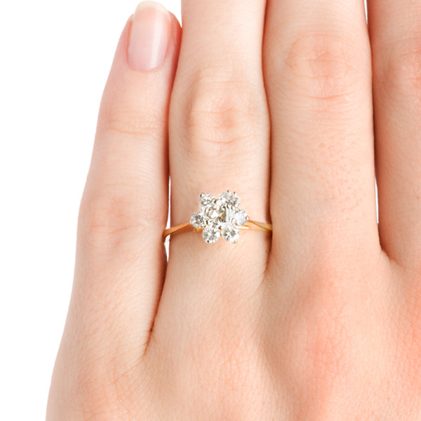 Vintage Diamond Cluster Engagement Ring | Retro Inexpensive Flower Wedding Ring | Woodstock