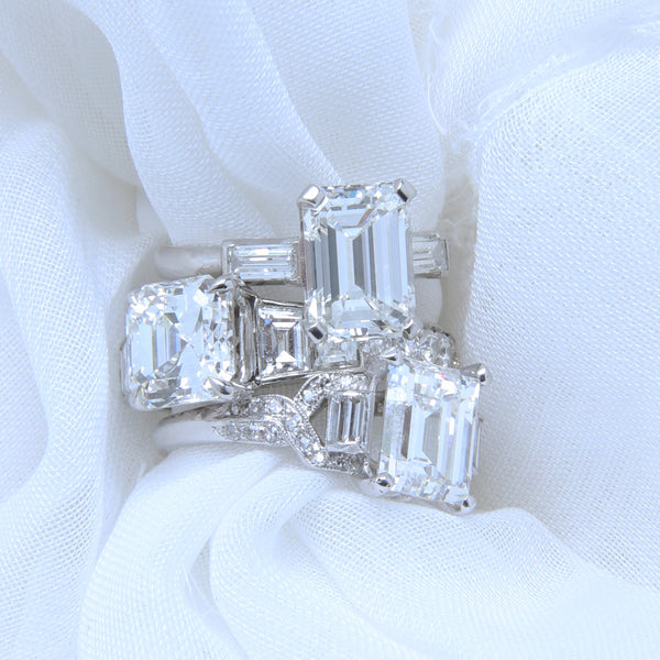 A Magnificent Mid-Century Platinum and Emerald Cut diamond Engagement Ring | River Chase