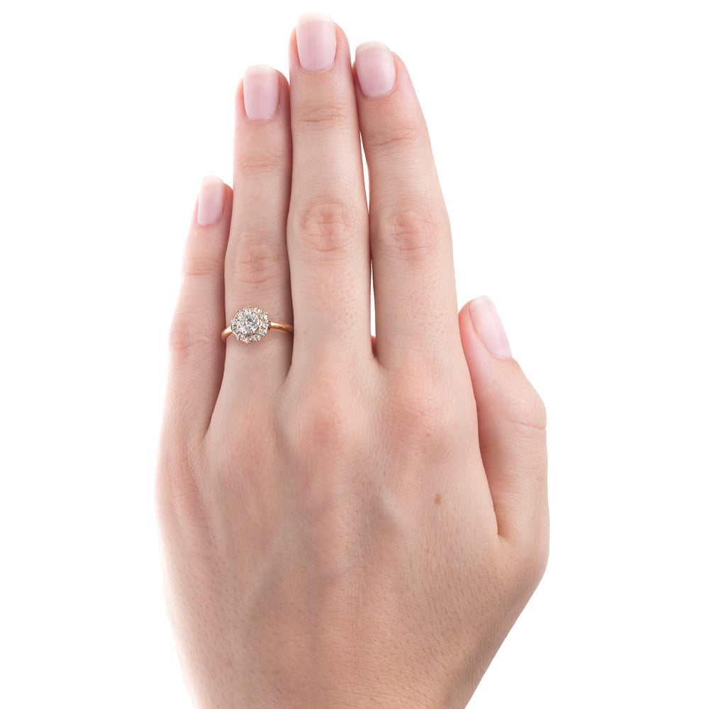 Classic Yellow Gold Halo Style Engagement Ring | Yardley – Trumpet ...