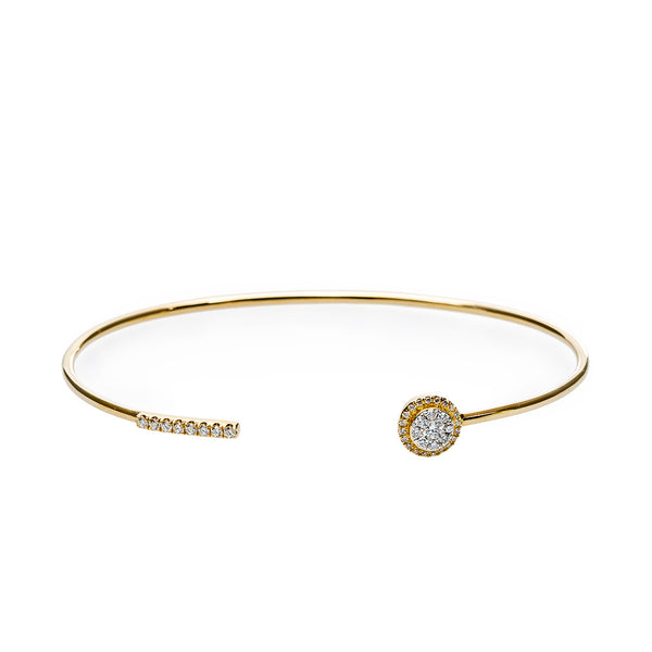 Delicate Diamond Halo Bangle from Trumpet & Horn