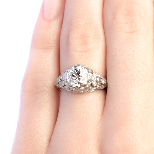 Yorkshire vintage Old Mine Cut diamond engagement ring from Trumpet & Horn
