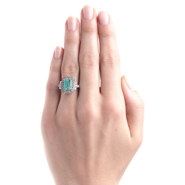 Vintage-Inspired Engagement Ring with Rectangular Step Cut Colored Stone | Zelda from Trumpet & Horn