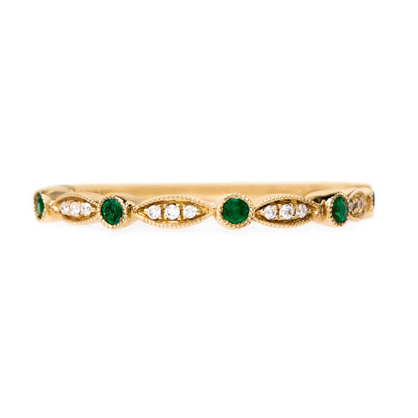 Delicate Emerald and Diamond Wedding Band | Zinnia from Trumpet & Horn