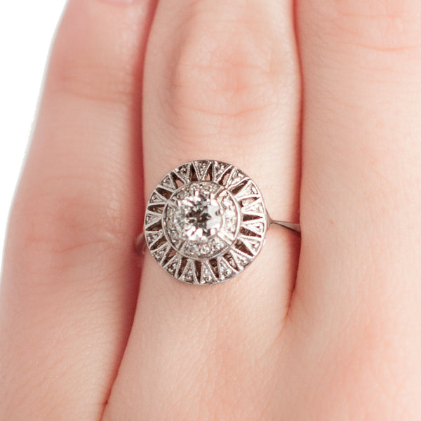 art deco starburst diamond engagement ring