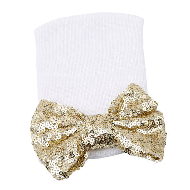 Baby Girls Beanie Sequined  Bow knot - 4u2by.com