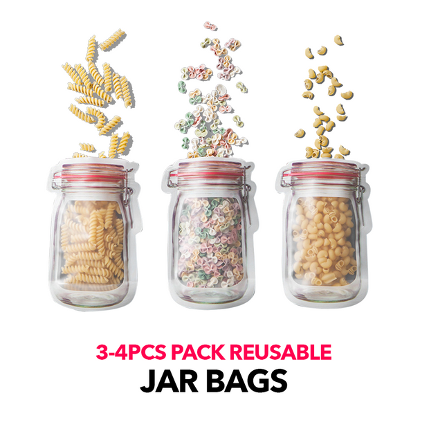 4/3PCS Pack Jar Bag Reusable