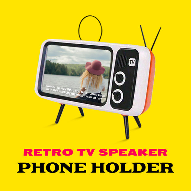 Retro TV Speaker and Phone Holder Stand