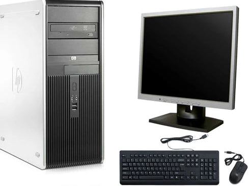 HP Desktop Computer Tower Core 2 Duo Windows 10 LCD Monitor Keyboard and Mouse