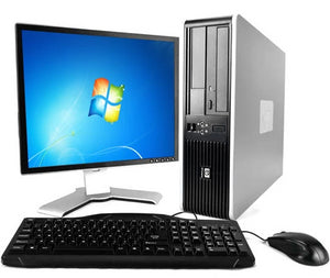 "HP Compaq SFF PC HP Desktop Computer Windows 7 Core 2 Duo Processor 17"" LCD Monitor Keyboard Mouse"