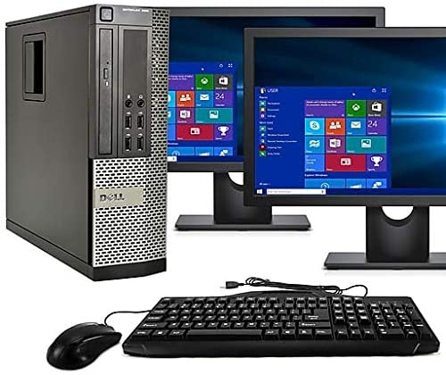 RENEWED Desktop Computer Package Dell Optiplex 790, Intel Quad Core i5-2400 Up to 3.40 GHz, WIN 10 Pro, DVD-RW, WIFI, Bluetooth, LCD (Customize)