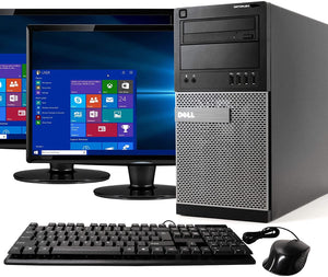 RENEWED Tower Computer Package Dell Optiplex 790, Intel Quad Core i5-2400 Up to 3.40 GHz, WIN 10 Pro, DVD-RW, WIFI, Bluetooth, LCD (Customize)