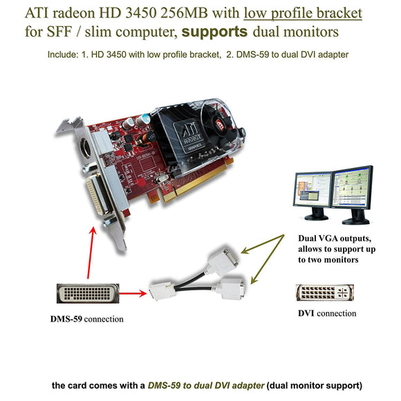 ATI Radeon HD 3450 DMS-59 Dual Monitor Video Card DVI Splitter Cable