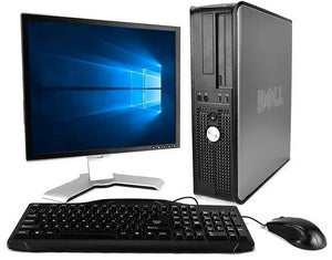 "Dell Optiplex Windows 10 PC 17"" Monitor Keyboard Mouse 4GB RAM 80G HDD"