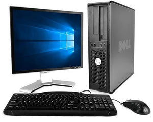"Dell Optiplex Windows 10 PC 17"" Monitor Keyboard Mouse 4GB RAM 500 HDD"