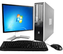 HP Desktop Computer Core 2 Duo Windows 7 Pro 32 Bit LCD Monitor Keyboard Mouse Bundle PC
