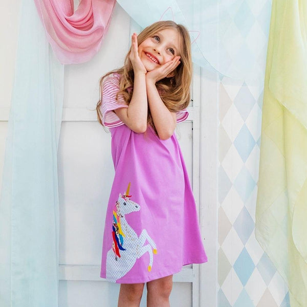 Robe Rose / 2 ans Robe Licorne Fun