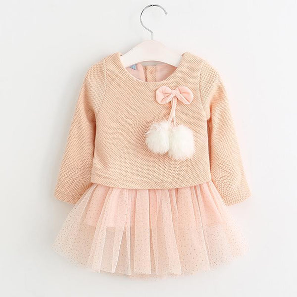 Robe Rose / 6 mois Robe paillettes Pompons