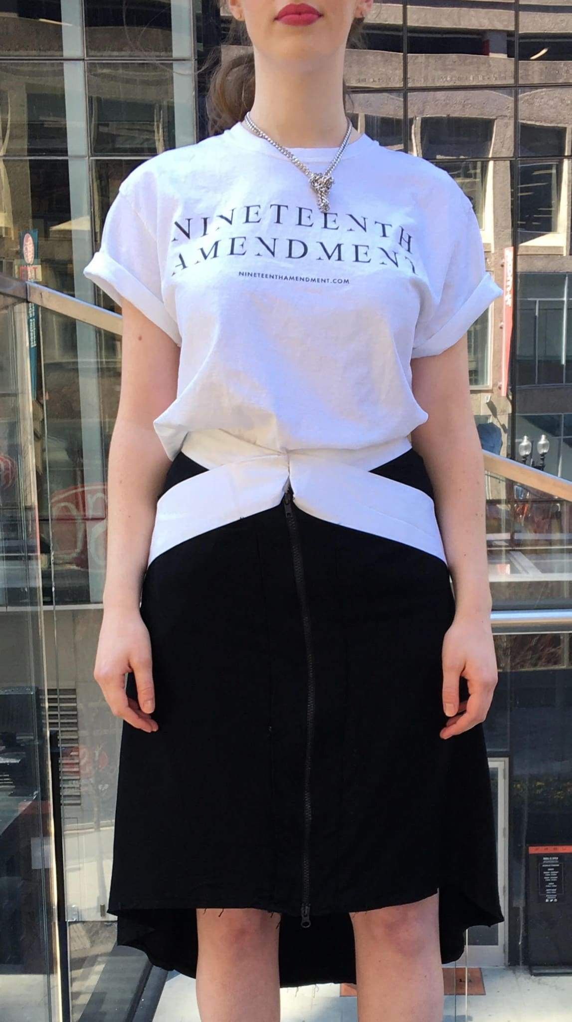 19th Amendment Person T-Shirt by Amanda Curtis Designs White T-Shirt front with Nineteenth Amendment logo