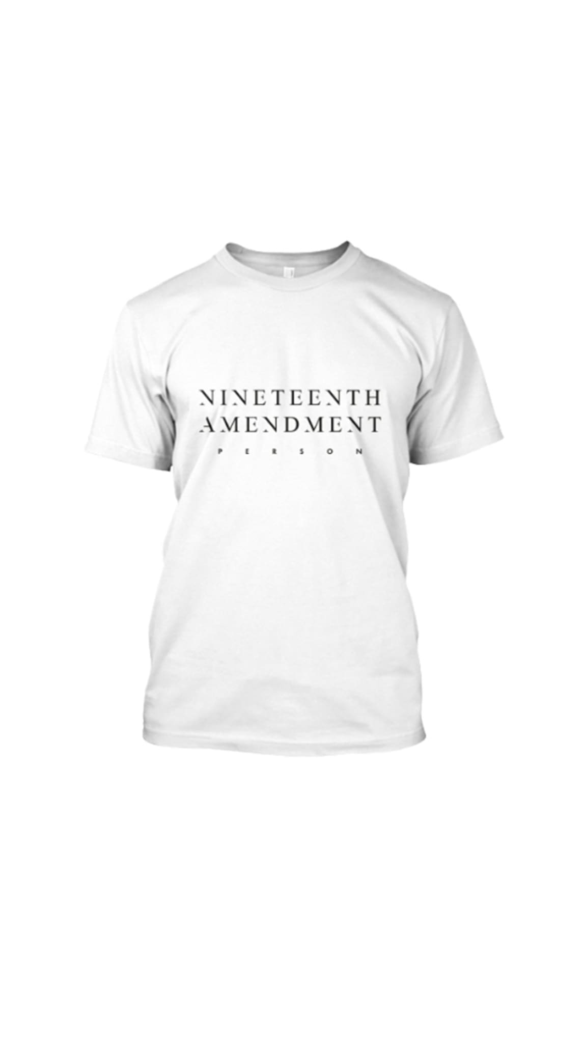 19th Amendment T-Shirt by Amanda Curtis Designs White T-Shirt front with Nineteenth Amendment logo