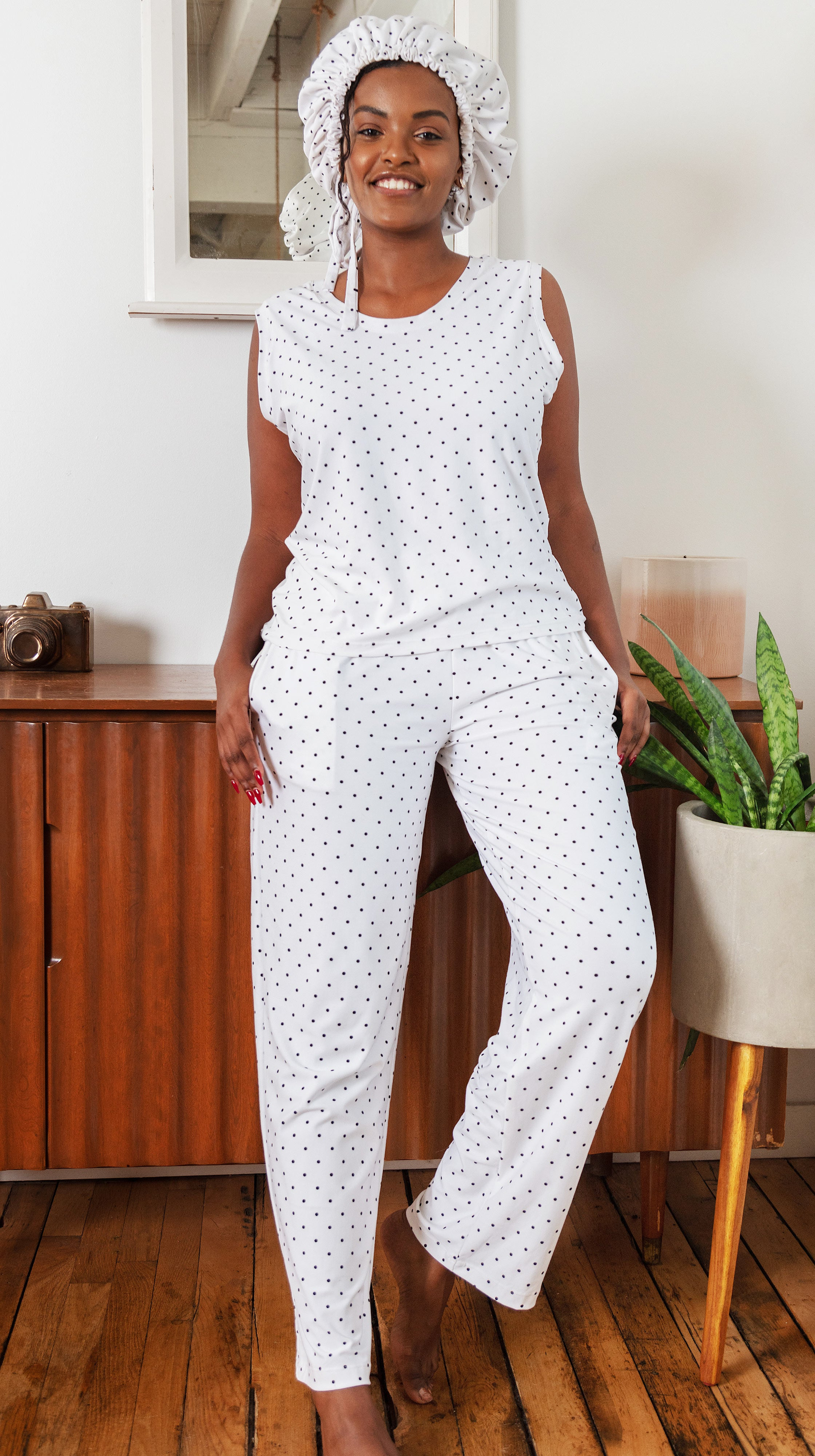 Ivory White with Black Polka Dot Tank Top by Sleep Sassy Loungewear Made in USA | Nineteenth Amendment