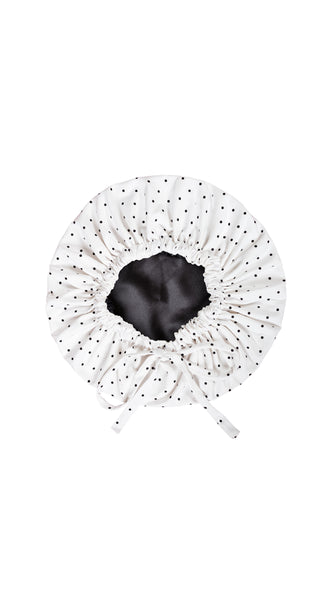 Ivory White with Black Polka Dot Sleep Bonnet by Sleep Sassy Loungewear Made in USA | Nineteenth Amendment