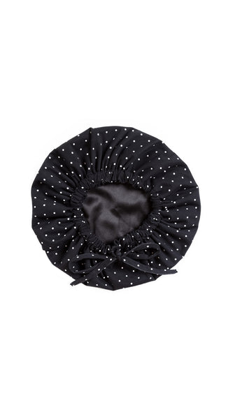 Ebony Black and White polka dot Sleep Bonnet by Sleep Sassy Made in USA Loungewear | Nineteenth Amendment