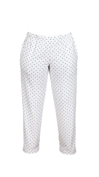 Ivory White with Black Polka Dot PJ Pants by Sleep Sassy Loungewear Made in USA | Nineteenth Amendment