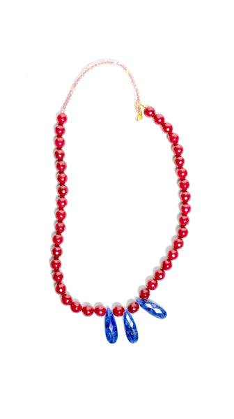 Ruby Red Jade with Blue Sapphire Necklace by Soul by Tapti Tapan | Nineteenth Amendment