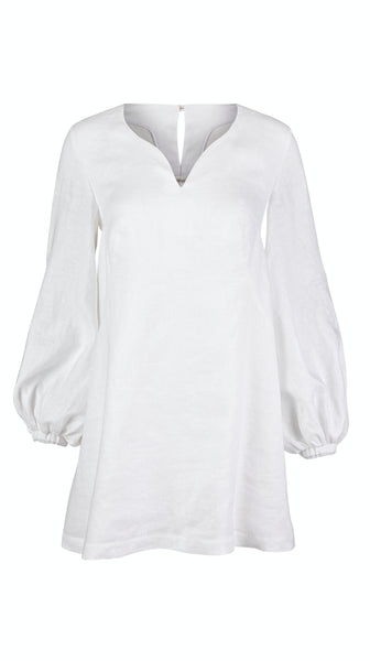 Summer womens White Linen Bishop Sleeve Summer Dress by VARYFORM | Nineteenth Amendment