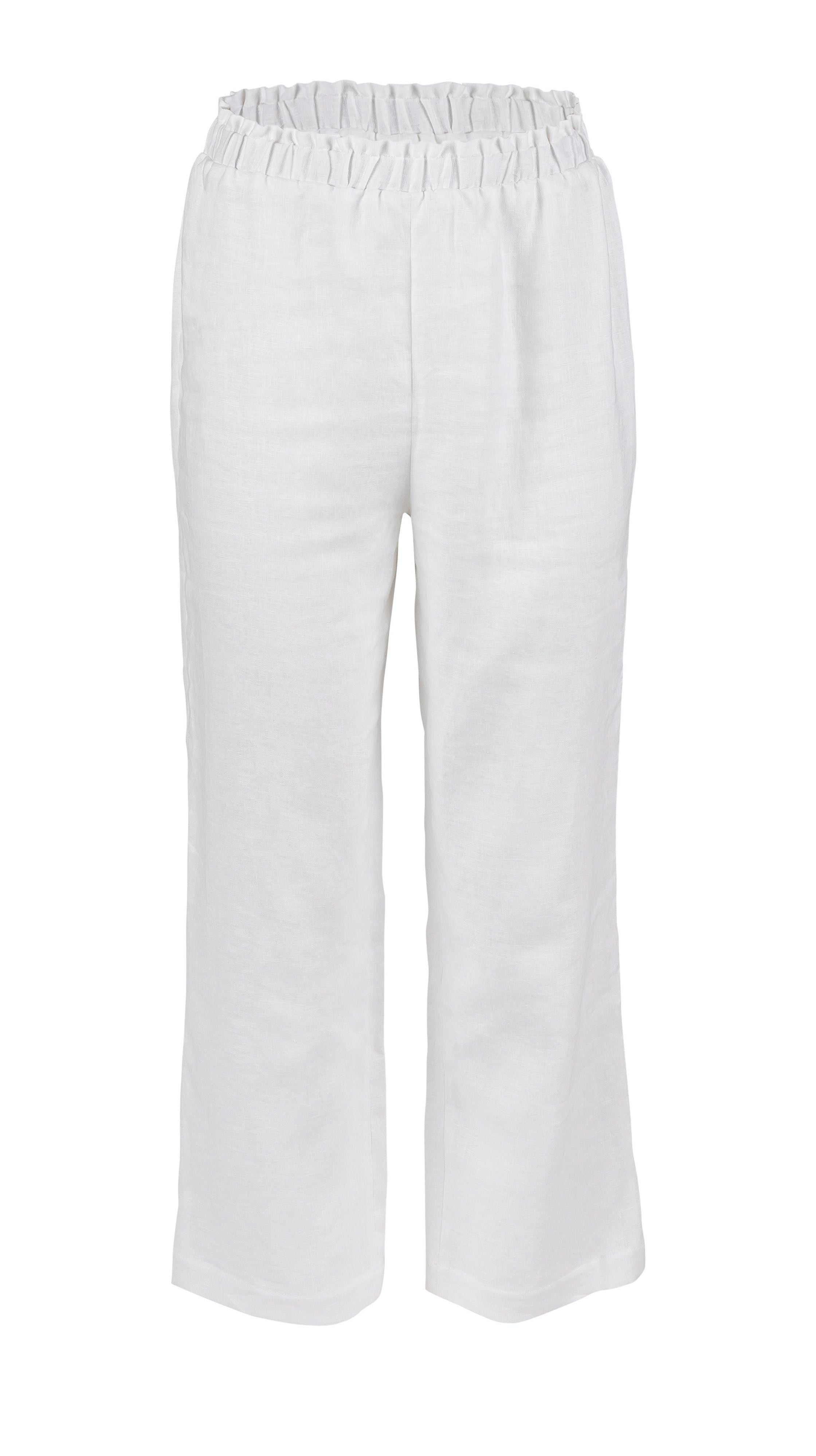 Sustainable summer womens White Linen Brunch elastic waist Pant by VARYFORM | Nineteenth Amendment