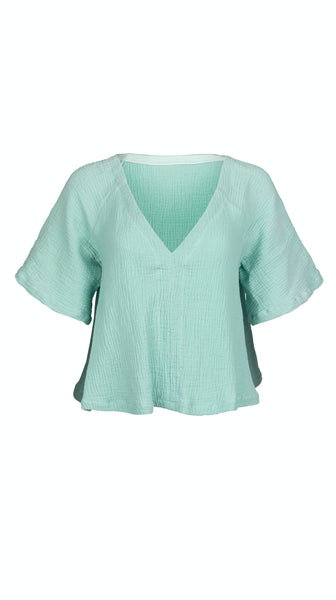 Antigua Mint Cotton Gauze Top by VARYFORM | Made in USA on Demand | Nineteenth Amendment