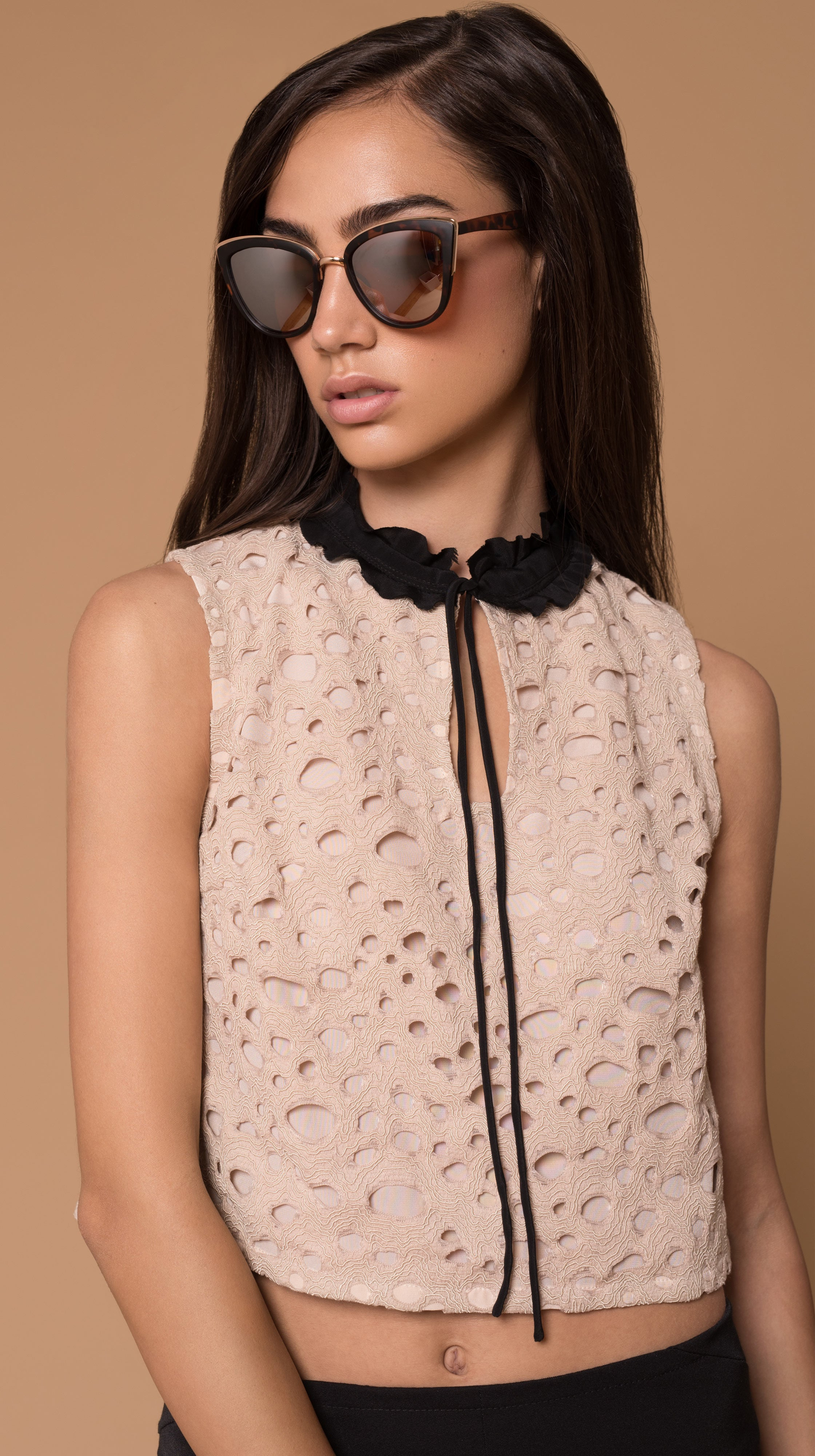 Lucia Dusty Pink Lace Ruffle Collar Crop Shirt by VARYFORM | Made in USA on-Demand | Nineteenth Amendment
