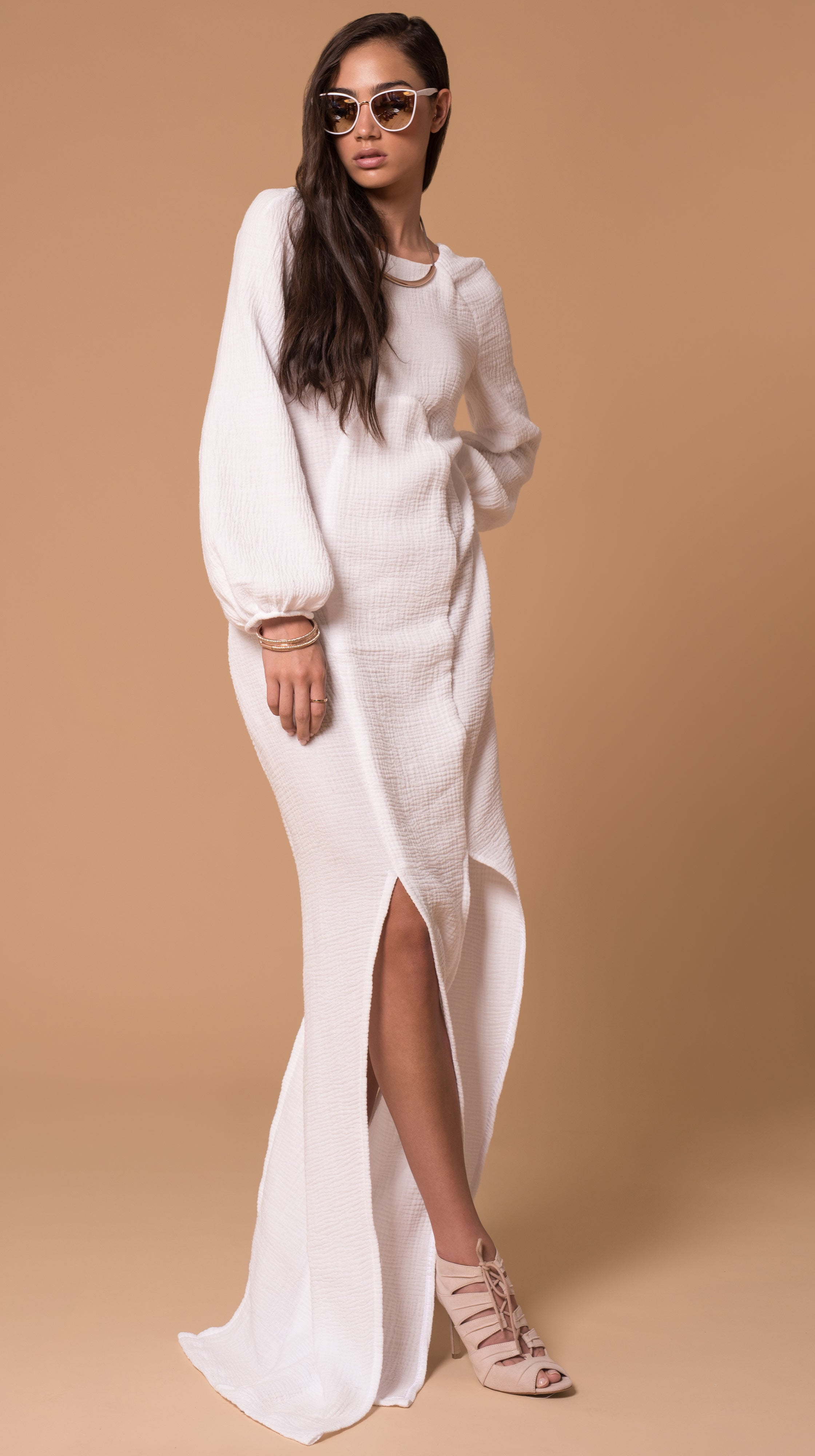 White Santorini Cotton Gauze Long Sleeve Maxi Dress by VARYFORM Made Sustainable in USA | Nineteenth Amendment