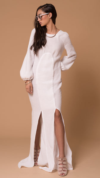 Santorini Cotton Gauze Long Sleeve Maxi Dress