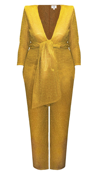 Golden Polyester Sparkle Jumpsuit with Sash Holiday Party by CG the Label | Nineteenth Amendment | Made in USA