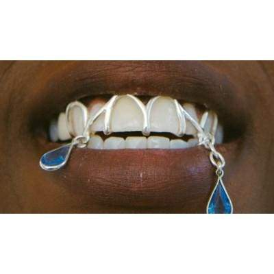 Amberlina Sterling Silver and Blue Stone Custom Grill by KING RELD | Nineteenth Amendment