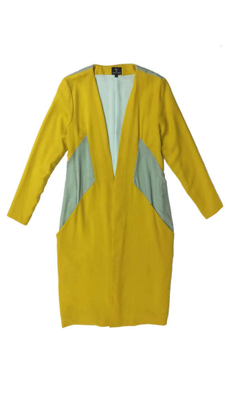 Aquila Yellow and Mint Wool Velvet Day Coat by Varyform Nineteenth Amendment