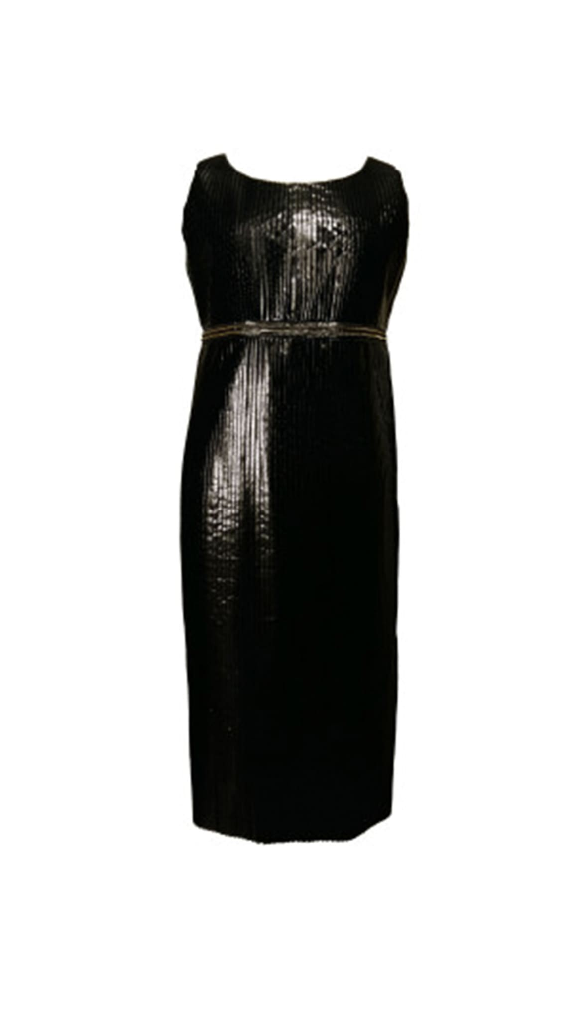 Black Metallic Pleated Column Dress by Chanho Jang | Nineteenth Amendment