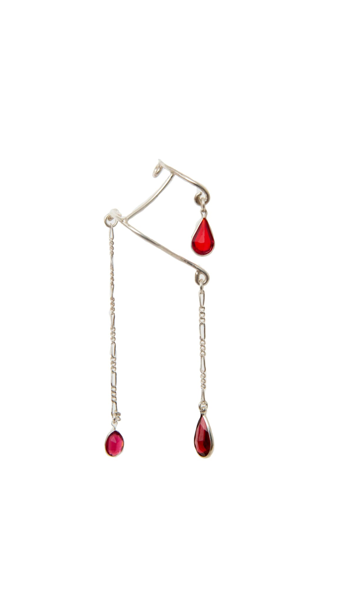Sterling Silver and red stone Blood Drips Nose Cuff by KING RELD | Nineteenth Amendment
