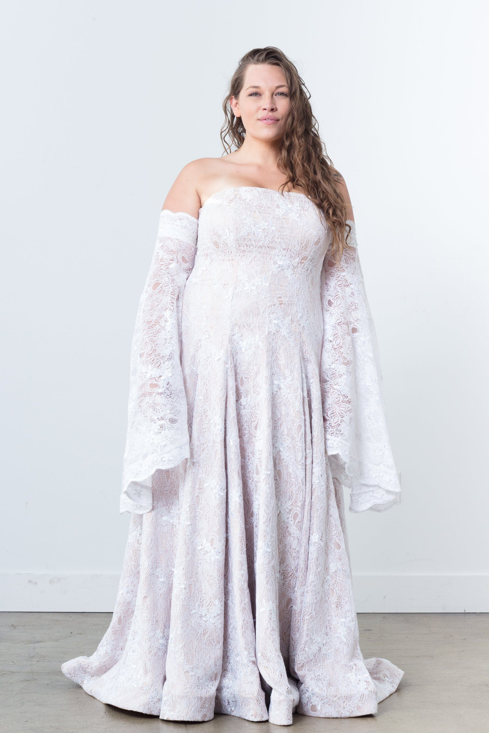 Nerecina Plus Size Boheme Gown Bridal Formalwear Made in LA Nude Lace See through gown shoulderless