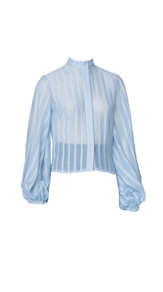 Blue Breeze Bellsleeve Blouse by Leetal Platt made in new york Nineteenth Amendment