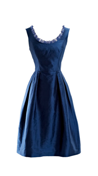 Customizable Blue Silk Cocktail Camellia Dress in Blue by Bespoke Southerly | Nineteenth Amendment