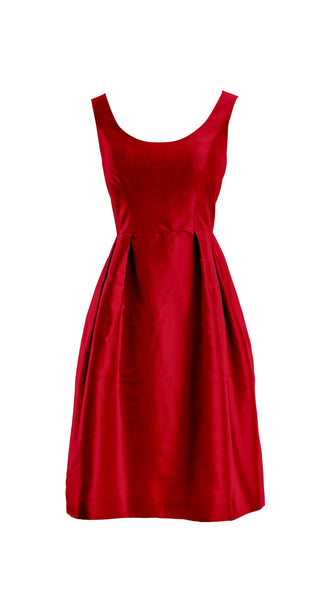 Customizable Red Silk Cocktail Camellia Dress in Red by Bespoke Southerly | Nineteenth Amendment