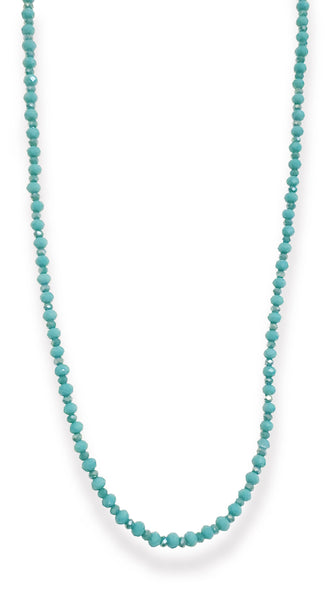 Turquoise Green Chain Crystal Strand Necklace by Soul by Tapti Tapan | Nineteenth Amendment