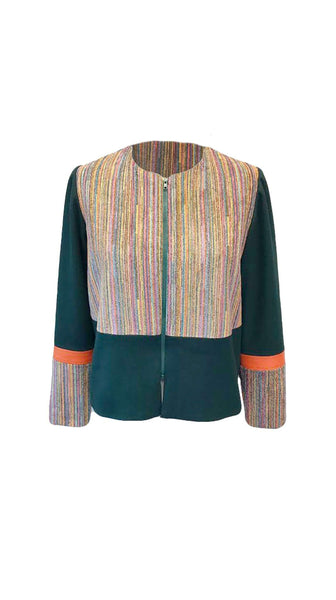 Chi Chic Jacket in Green and Orange - Jackets