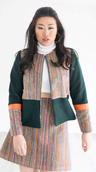 Chi Chic Jacket in Green and Orange