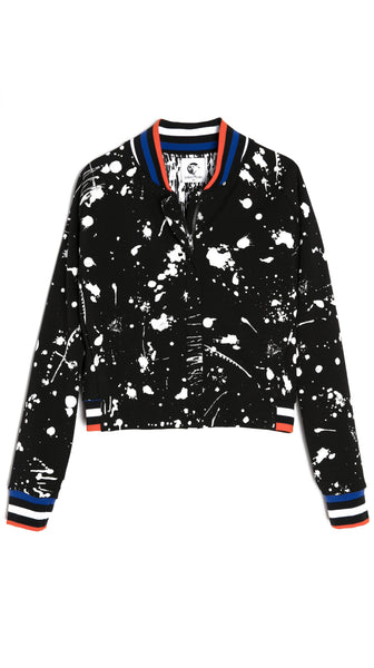 Cropped Black Paint Splatter Art Bomber Jacket by Lobo Mau Made inn Philadelphia | Nineteenth Amendment