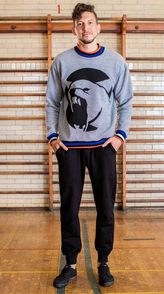 Denim Knit Wolf Sweatshirt
