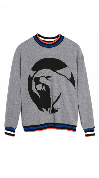 Grey Cotton Denim Knit Wolf Sweatshirt by Lobo Mau Made in Philadelphia | Nineteenth Amendment